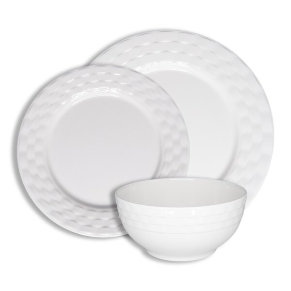 Basket Weave 12 Piece Melamine Dinnerware Set, Service for 4 by 222 Fifth