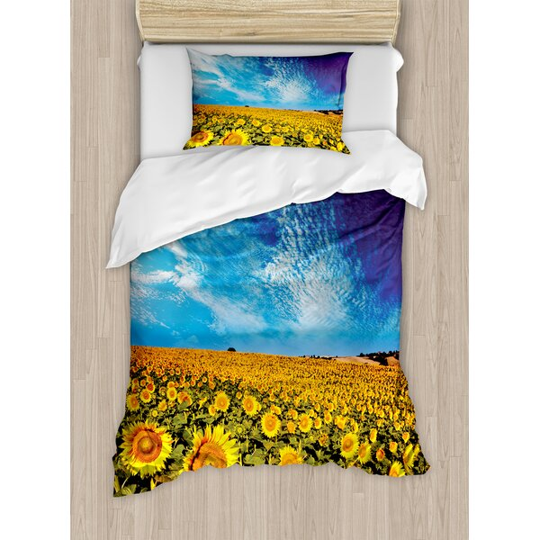 Scenery Exposure Photo Sunflower Garden Field with Skyline Summer Nature Image Duvet Set by Ambesonne