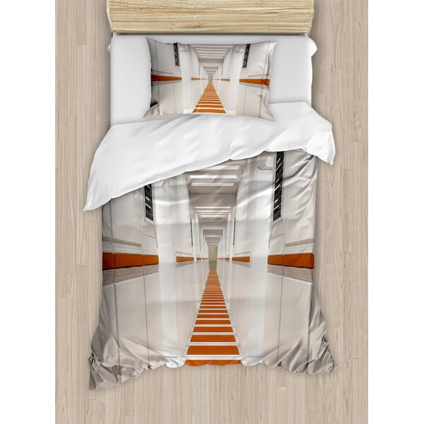 Outer Space Space launch Spaceship Futuristic Interior Corridor Mars World Image Duvet Set by Ambesonne