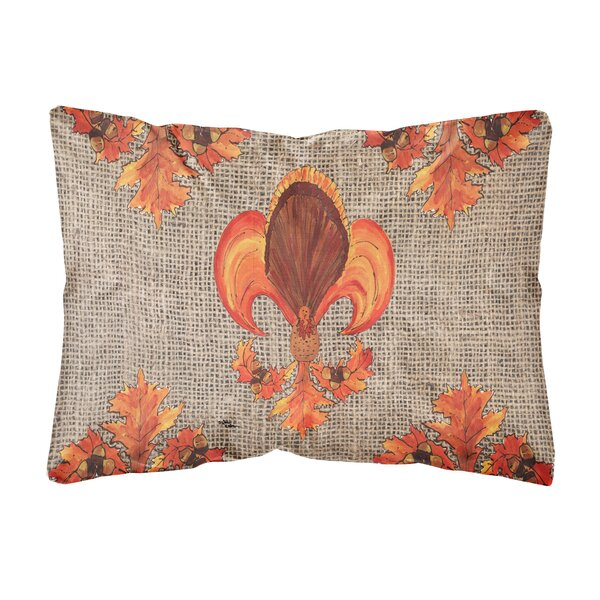 Thanksgiving Turkey Fleur De Lis Indoor/Outdoor Throw Pillow by Caroline's Treasures