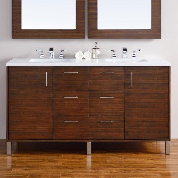 Cordie 60 Double American Walnut Hardwood Base Bathroom Vanity Set by Orren Ellis