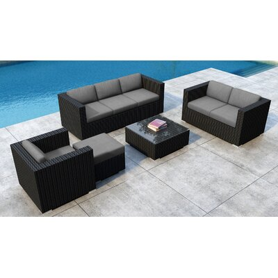 Glendale 5 Piece Rattan Sunbrella Sofa Seating Group with Cushions Cushion Color: Canvas Charcoal