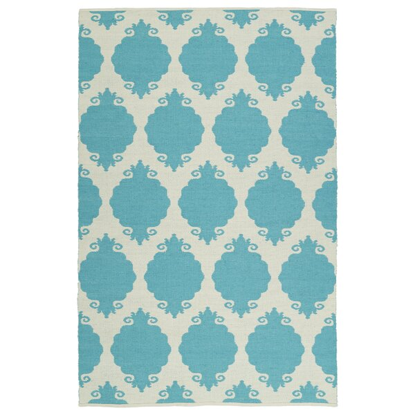 Dominic Turquoise/Cream Indoor/Outdoor Area Rug by Ebern Designs