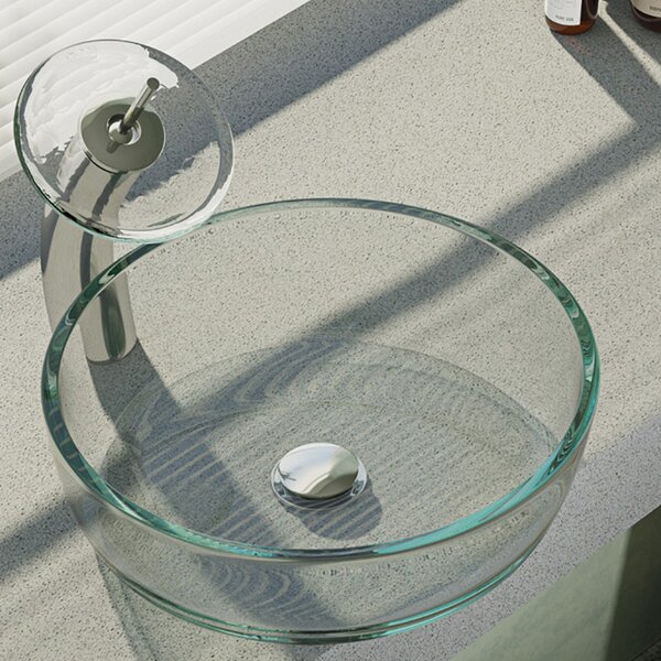 Crystal Glass Circular Vessel Bathroom Sink with Faucet by René By Elkay