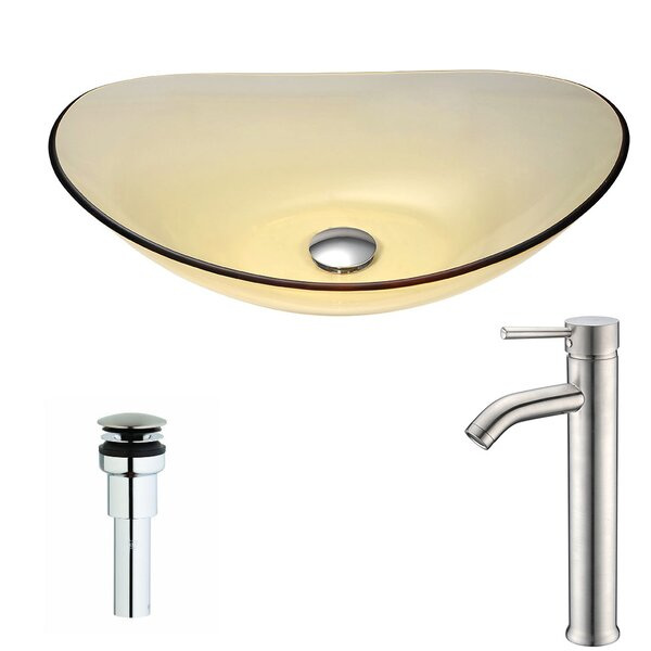Mesto Glass Oval Vessel Bathroom Sink with Faucet