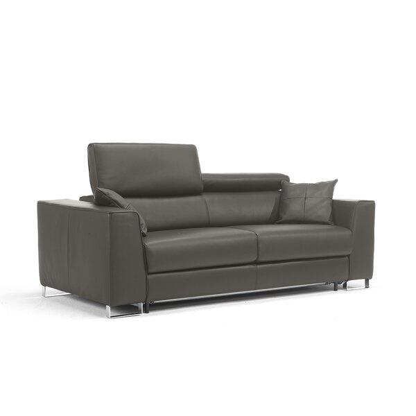 Sale Price Siasconset Genuine Leather 87'' Square Arm Sofa Bed