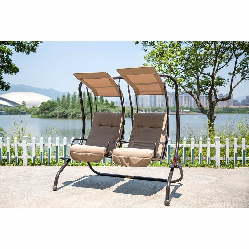 Flaugher Converting Cushion Covered Patio Porch Swing With Stand
