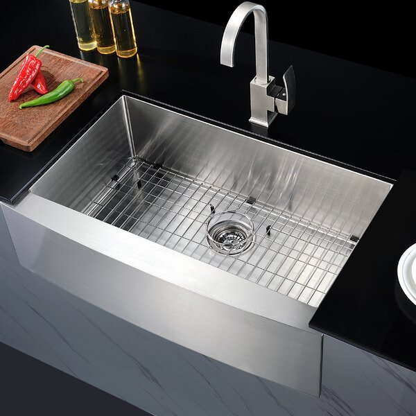 Elysian 36 x 21 Farmhouse Kitchen Sink with Basket Strainer by ANZZI