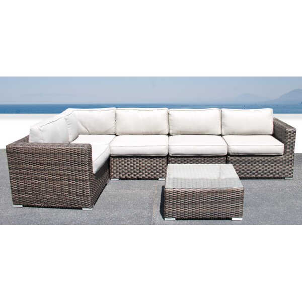 Darvin 6 Piece Rattan Sectional Seating Group with Cushions by Sol 72 Outdoor