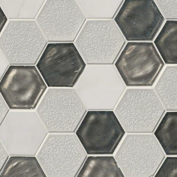 Circa Zirconia Hexagon 3 x 3 Glass/Stone Mosaic Tile in White by MSI
