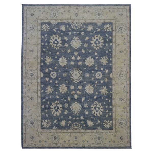 One-of-a-Kind Magdalena Pakistan Peshawar Hand-Knotted Wool Blue/Beige Area Rug by One Allium Way