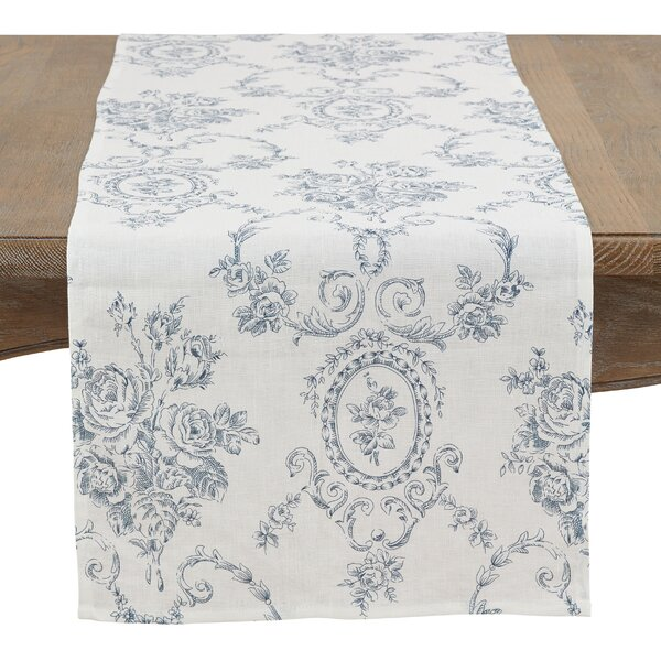 Vickrey Floral and Toile Linen Table Runner by Ophelia & Co.