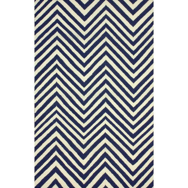 Flatweave Hand-Woven Wool Navy Blue Area Rug by nuLOOM