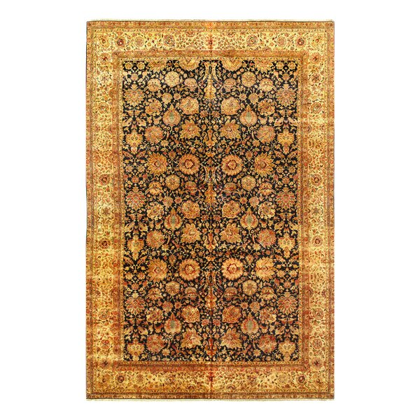 One-of-a-Kind Hand-Knotted Agra Beige/Black 12' x 18' Area Rug