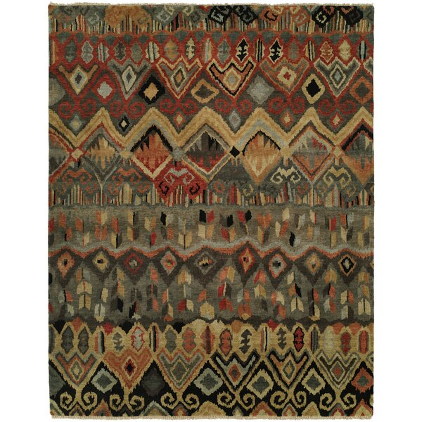 Giselle Hand Knotted Wool Ivory/Rust Area Rug by Bloomsbury Market