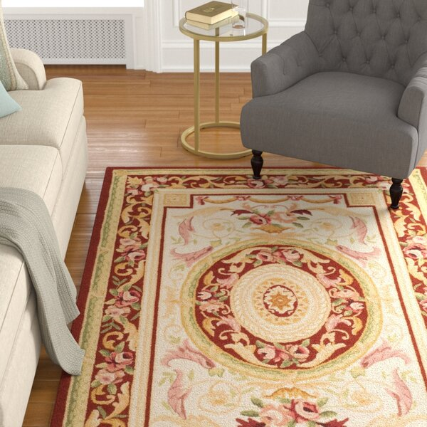 Weaver Hand-Hooked Burgundy/Ivory Area Rug by Astoria Grand