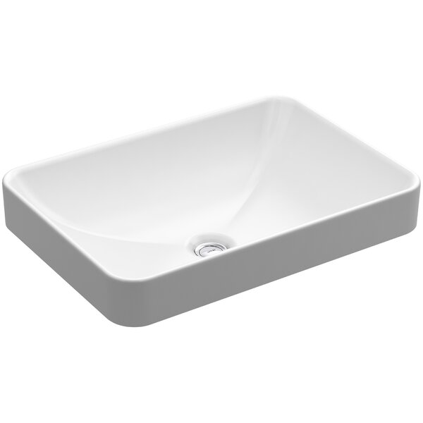 Vox Vitreous China Rectangular Vessel Bathroom Sink with Overflow by Kohler