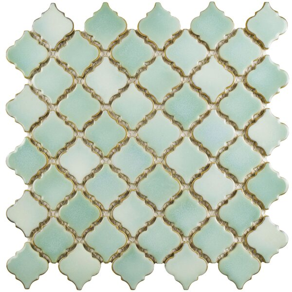 Pharsalia 12.38 x 12.5 Porcelain Mosaic Floor and Wall Tile in Mint Green by EliteTile