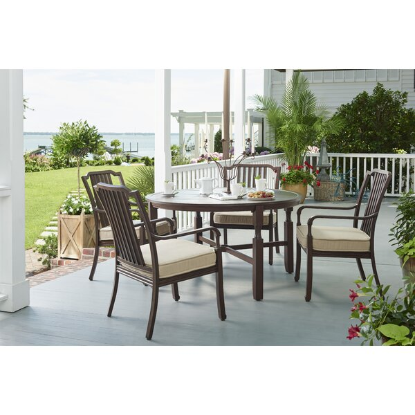 River House 5 Piece Sunbrella Dining Set With Cushions by Paula Deen Home