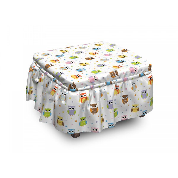 Owls Angry Funny Cartoon Kids 2 Piece Box Cushion Ottoman Slipcover Set By East Urban Home