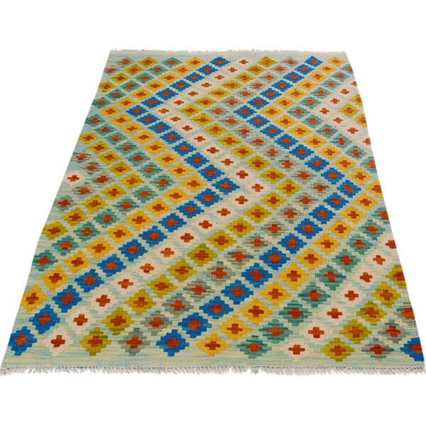 One-of-a-Kind Aalborg Kilim Hand-Woven Blue/Orange Area Rug by Isabelline