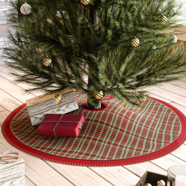 Round Plaid Twill  Tree Skirt by Loon Peak