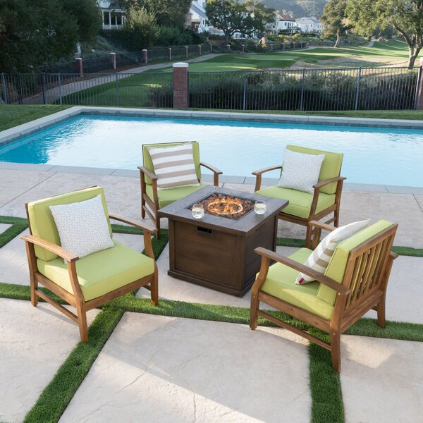 Marlon 5 Piece Conversation Set with Cushions by Union Rustic
