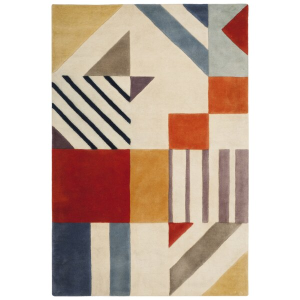 Carlberg Hand-Tufted Wool Ivory/Blue Area Rug by Mercury Row