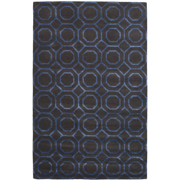 Griffing Hand-Tufted Wool/Silk Dark Gray/Blue Area Rug by Ivy Bronx