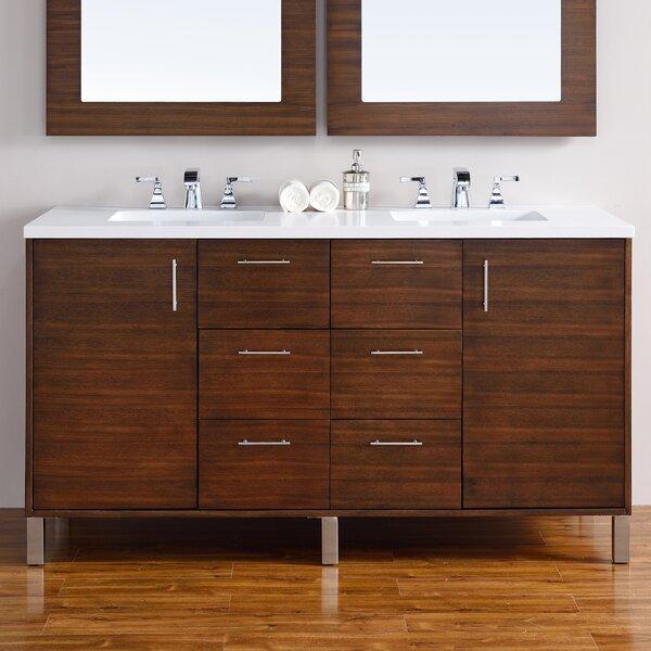Cordie Modern 60 Double American Walnut Hardwood Base Bathroom Vanity Set by Orren Ellis