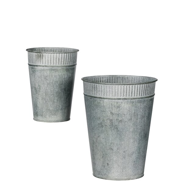 Liptak Rib Rim Bucket Metal Pot Planter Set (Set of 2) by Gracie Oaks