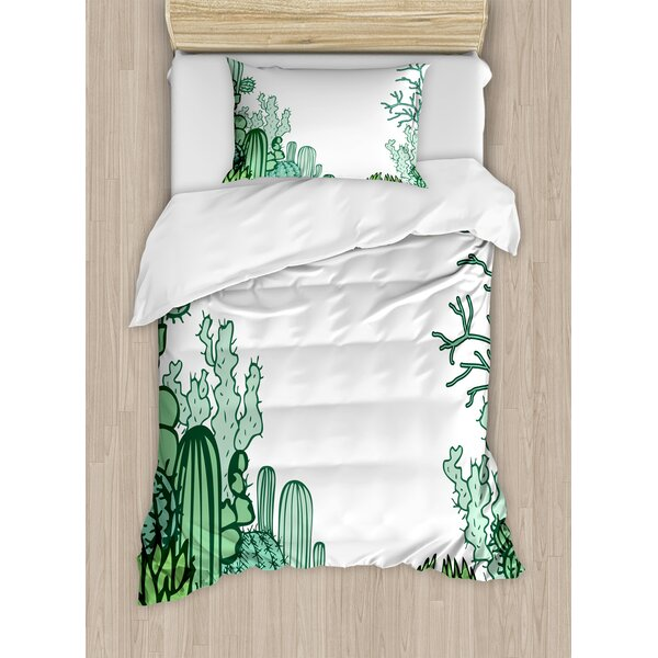 Arizona Desert Themed Doodle Cactus Staghorn Buckhorn Ocotillo Duvet Set by Ambesonne
