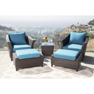 Lemanski Outdoor 5 Piece Rattan Conversation Set with Cushion By Latitude Run