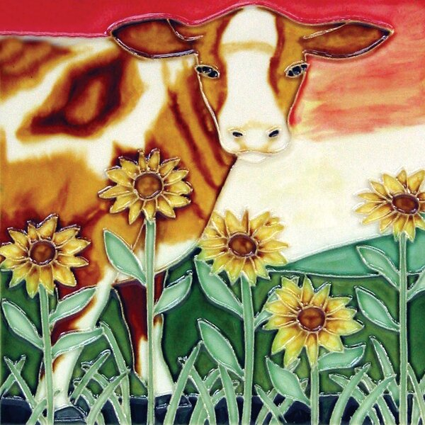 Brown Cow Sunflower Tile Wall Decor by Continental Art Center
