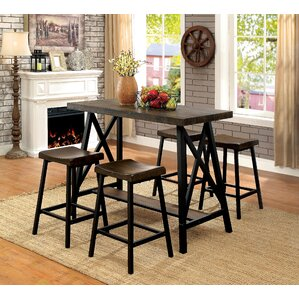 Mount Shasta Industrial Counter-Height Pub Table Set by Loon Peak
