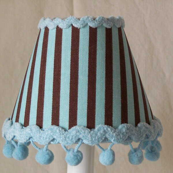 Striped Desserts 7 H Fabric Empire Lamp Shade ( Screw On ) in Blue/Brown
