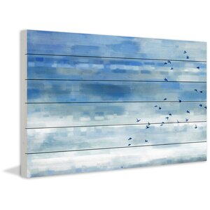 'Blue Sky Birds' by Parvez Taj Painting Print on White Wood by Parvez Taj