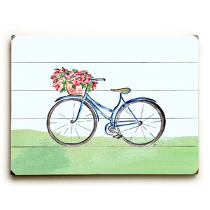 'Spring Bicycle' Wall Art Plaque by August Grove
