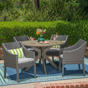 Albany 5 Piece Dining Set with Cushions By Wrought Studio