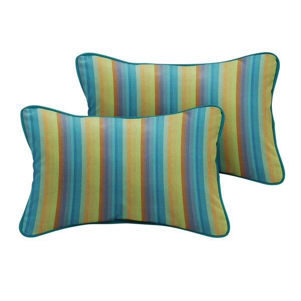 Dzu Sunbrella Astoria Lagoon Stripe Outdoor Lumbar Pillow (Set of 2) by Bayou Breeze
