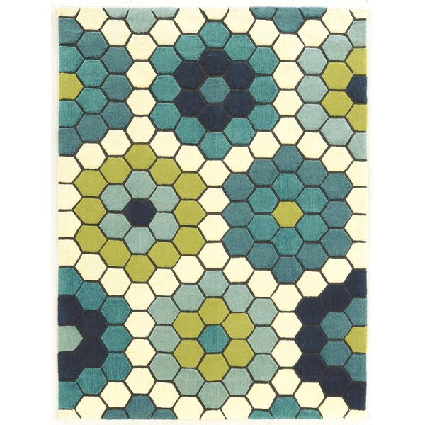 Scheidt Hand-Tufted Blue/Green Area Rug by Wrought Studio