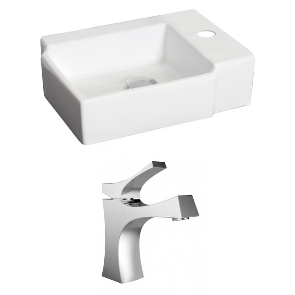 Ceramic Rectangular Vessel Bathroom Sink with Faucet by American Imaginations