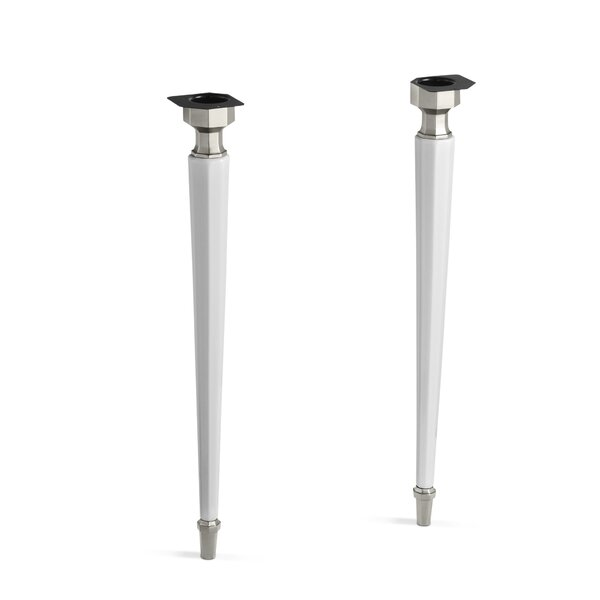 Kathryn Octagonal Fireclay/Brushed Nickel Tapered Brass Table Legs by Kohler