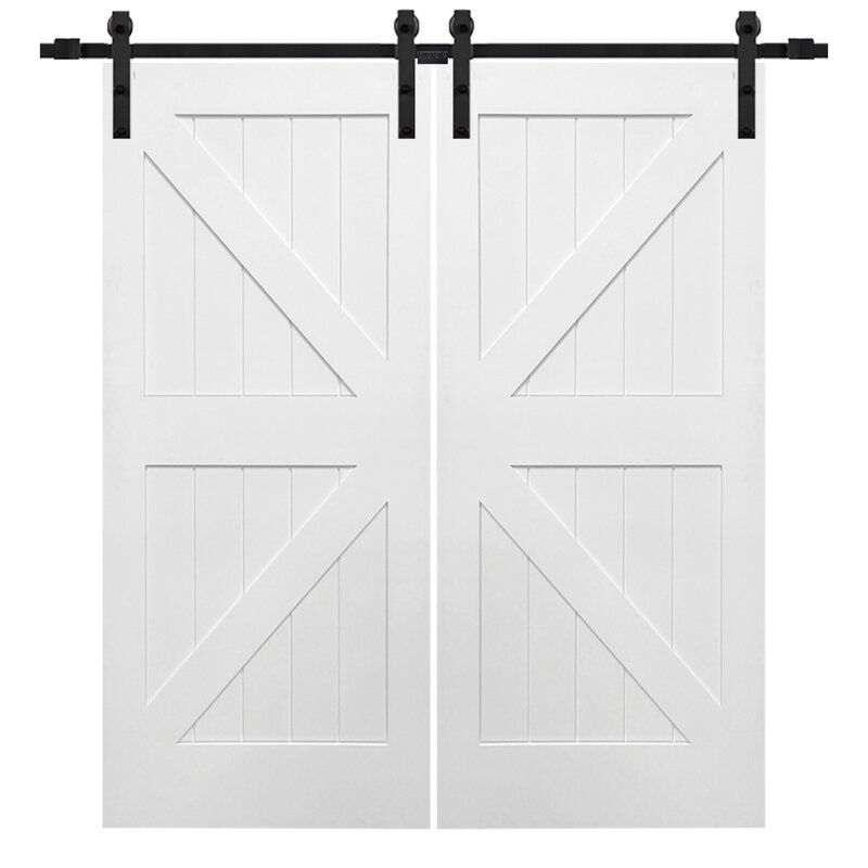 Double Stile and Rail K Planked MDF 4 Panel Interior Barn Door with Hardware  sc 1 st  Wayfair & Verona Home Design Double Stile and Rail K Planked MDF 4 Panel ... pezcame.com