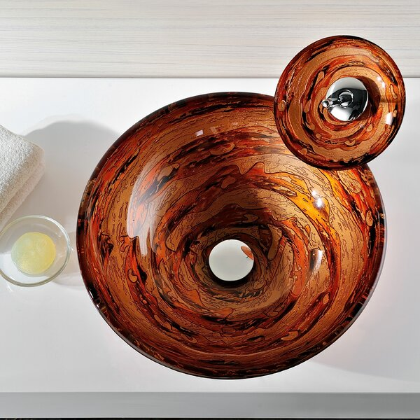 Stanza Glass Circular Vessel Bathroom Sink by ANZZI