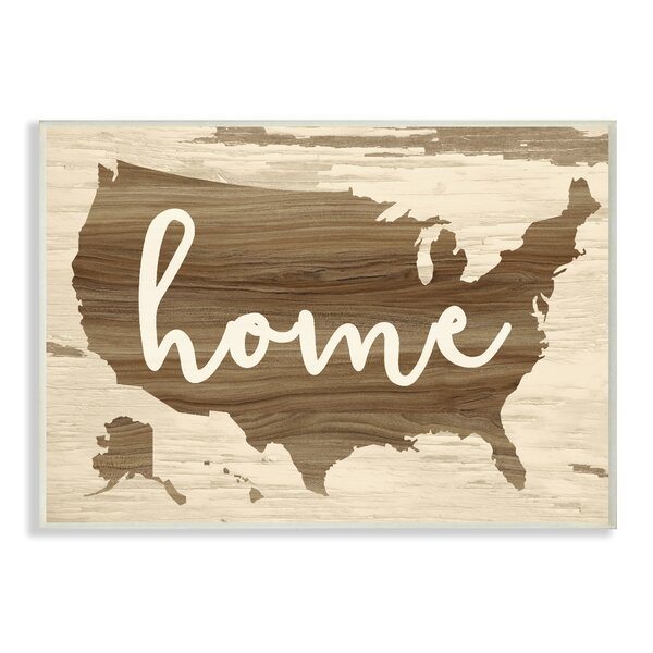 Home Distressed Wood Us Map Oversized Textual Art by Stupell Industries
