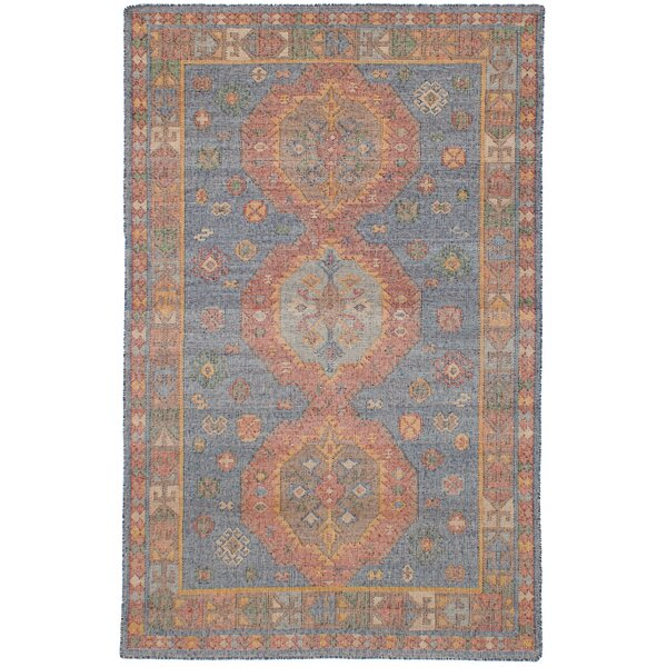 Bevers Hand Flat Woven Wool Blue Area Rug by Bungalow Rose