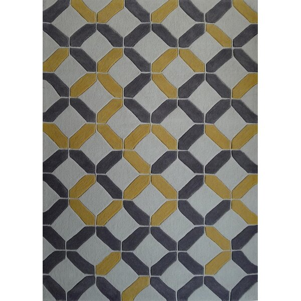 Payeur Transitional Hand Woven Charcoal/Yellow Indoor Area Rug by Latitude Run