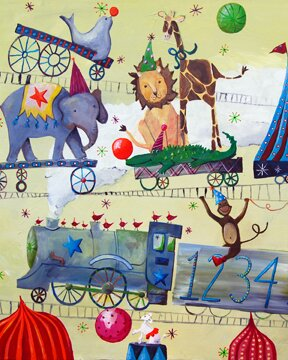 Wit & Whimsy Circus Train Canvas Art by Cici Art Factory
