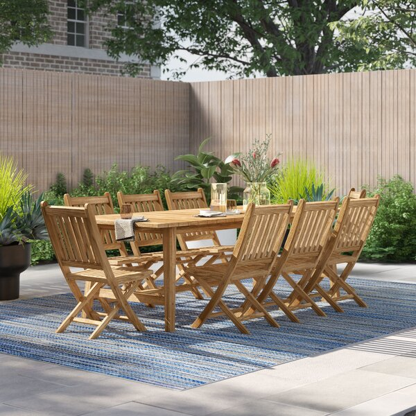Anthony Outdoor Patio 9 Piece Teak Dining Set by Foundstone